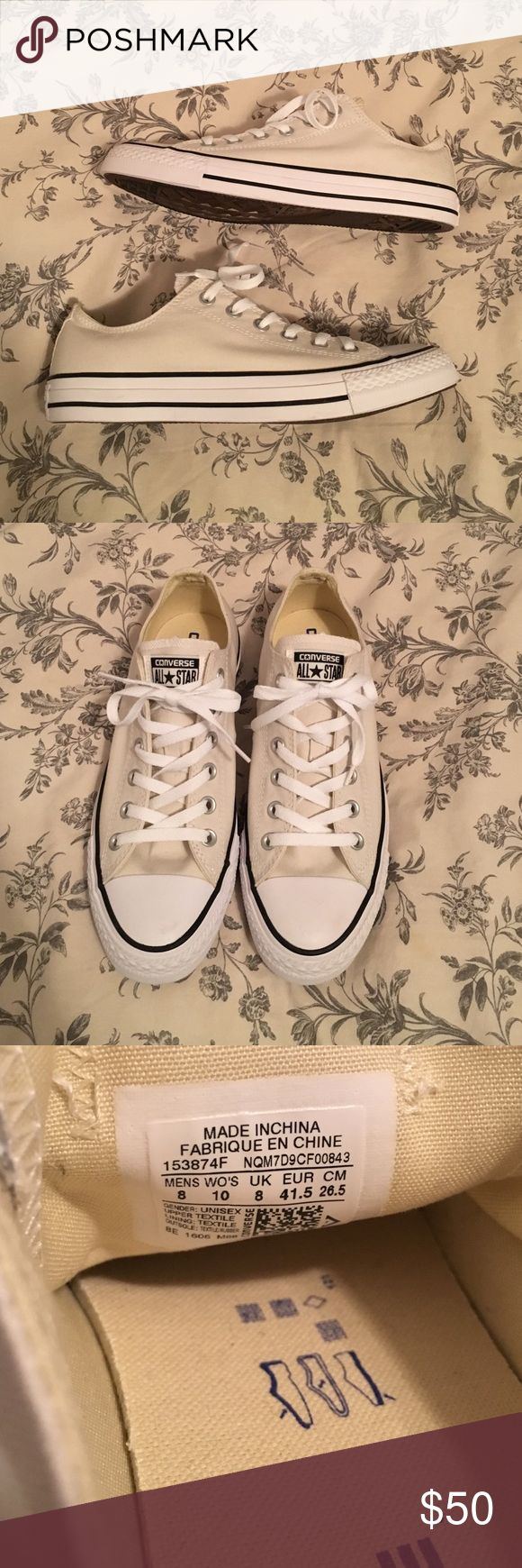 Off White Converse Low Tops Brand new Converse low tops in a gorgeous off white color. Selling because I have too many pairs of sneakers 😔 Comes with box! Size 10 women's, size 8 men's. Converse Shoes Sneakers