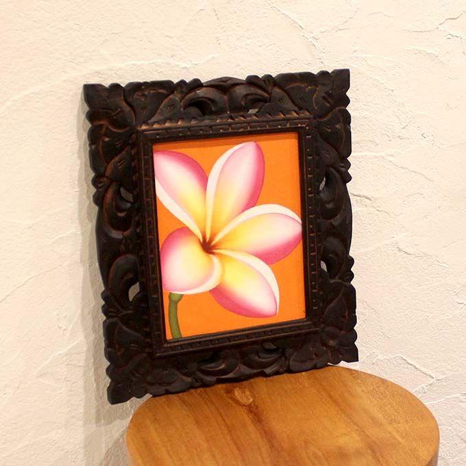 アジアンアート 壁飾り バリ島 花の絵 プルメリア フランジパニー 南国の花 W33×H38 絵画 インテリア バリアート