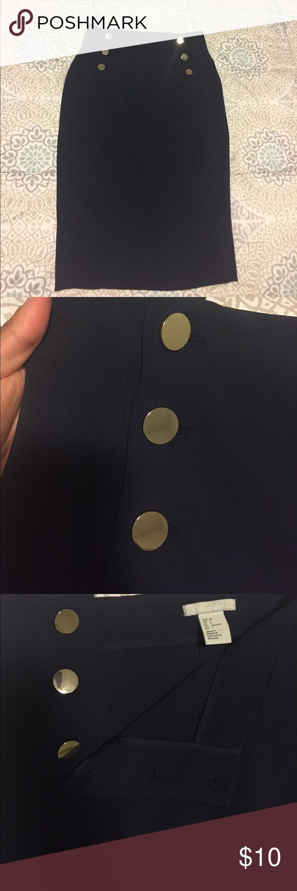 H&M Navy Pencil Skirt with gold buttons - Size 6 Classy and Sassy Navy pencil skirt for sale! No zipper - gold buttons on each side allow you to put this skirt on and off. A little slit in the back to make this the perfect skirt for work or play. *Pet and Smoke Free Home* H&M Skirts Pencil