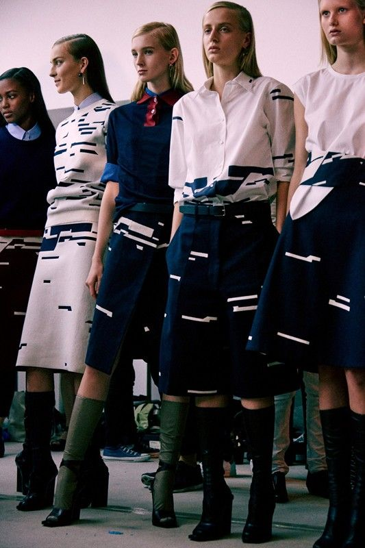 30s androgyny meets schoolgirl innocence backstage at Jil Sander SS15 MFW. More images here: http://www.dazeddigital.com/fashion/article/21850/1/jil-sander-ss15