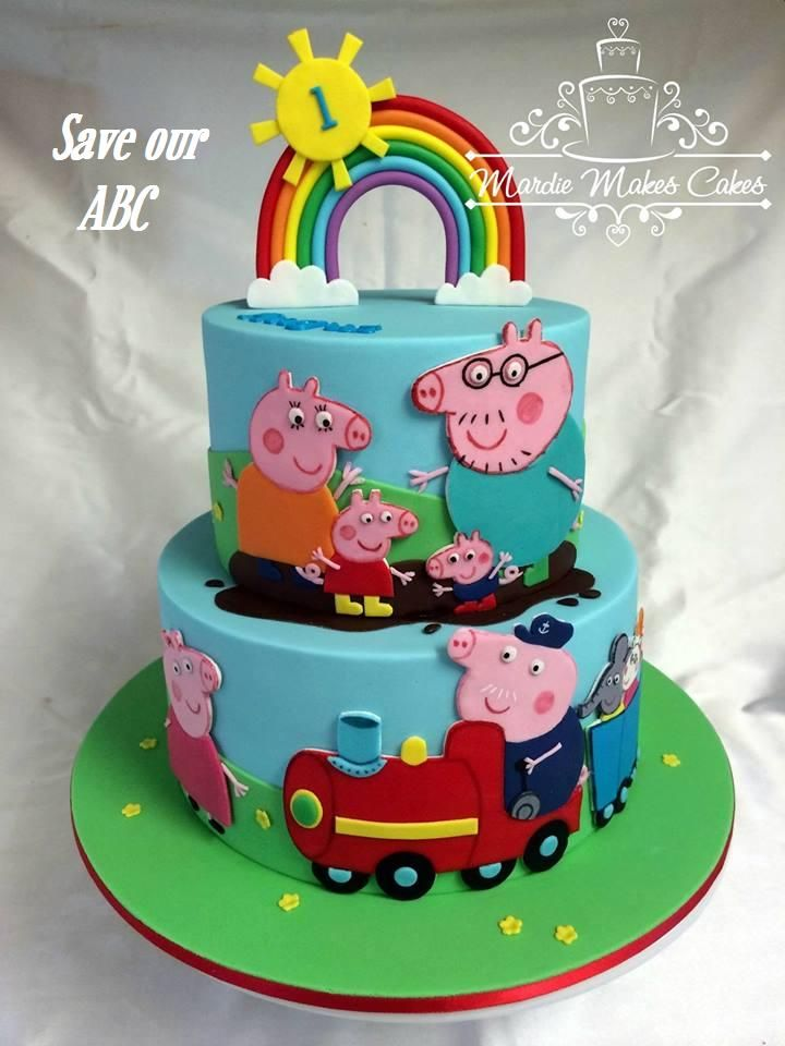 """Peppa Pig Cake by Mardie Makes Cakes. In Australia we are losing funding to our independent television channel The ABC. I am starting a collection of photos from our local home baking mums and dads to support the facebook page (not run by me) """"Australians Baking Cakes for the ABC.  http://www.cakedecorcairns.com/2014/06/australians-baking-cakes-for-abc.html"""