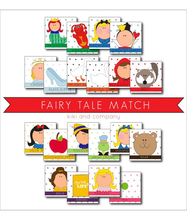 I love this fun Fairy Tale Match game! Free Printable - A great kids activity for this summer!