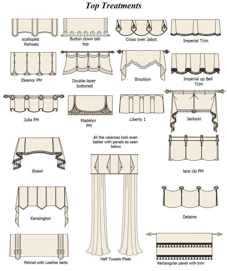 Window treatment ideas - I like the bottom left with the belts.  My Living room?