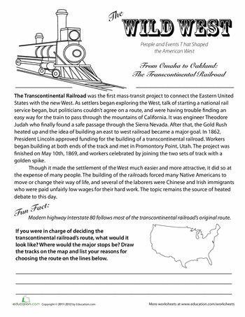 Worksheets: Transcontinental Railroad History