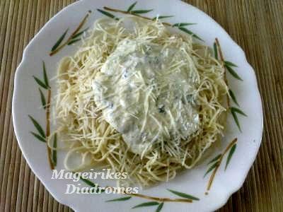 Ζυμαρικά με λάιτ σάλτσα τυριού - Δοκιμάστε το με χυλοπίτες χωριάτικες