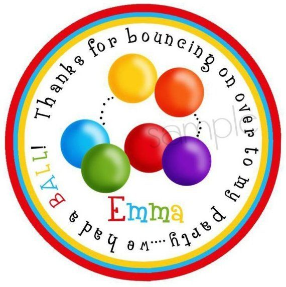Ball Pit favor stickers Ball Pit Party Ball by LittlebeaneBoutique