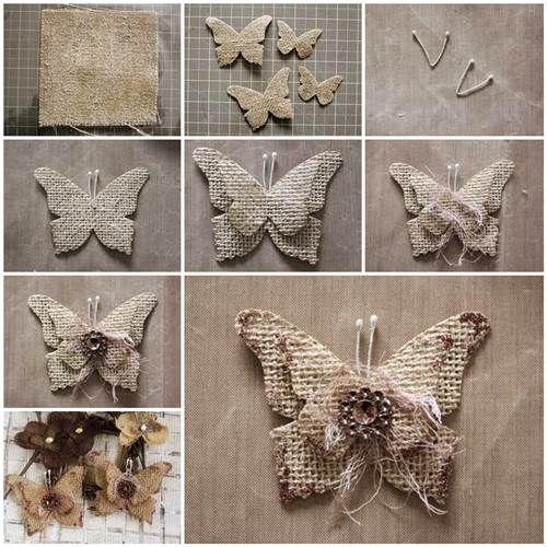Como hacer de Que las mariposas Arpillera Hermosas