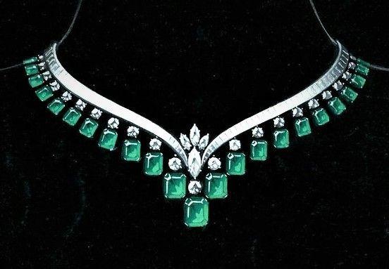 emerald-and-diamond-v-necklace--circa-1964