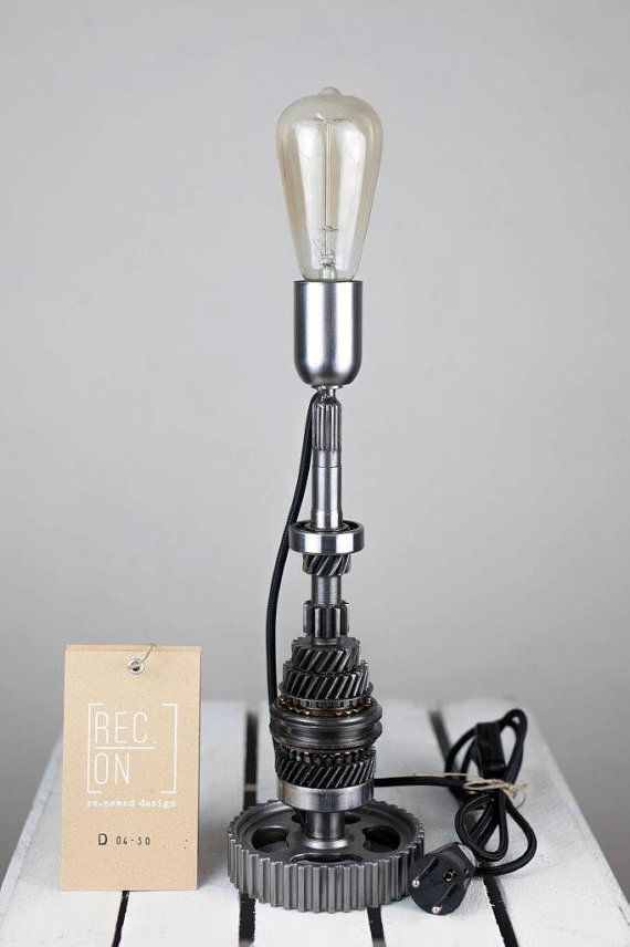 Table lamp made of mechanism of transmission by RECONrenewed