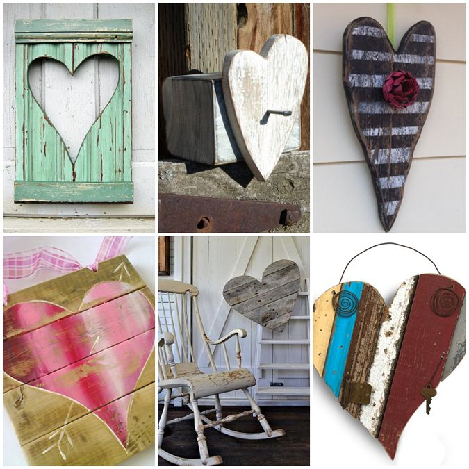 reclaimed wood hearts - Valentine's Day