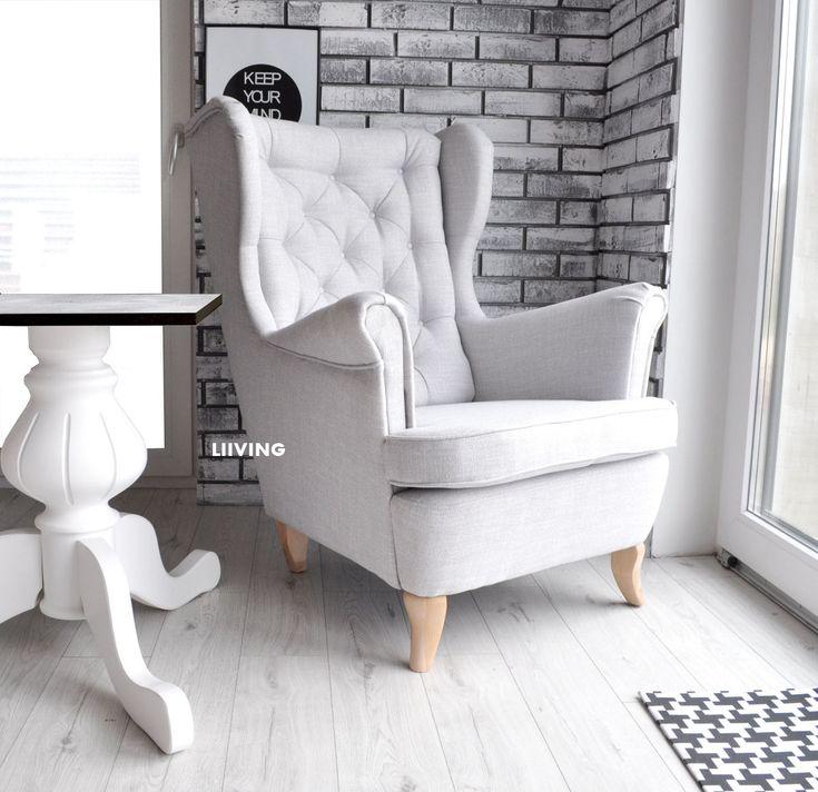 Imitacja lnu belgijskiego.Fotel uszak , który odmieni twoje wnętrze