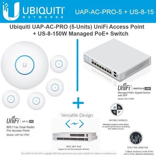Ubiquiti Uap Ac Pro 5 Pack Unifi Access Point Us 8 150w Managed Poe Switch Med Billeder