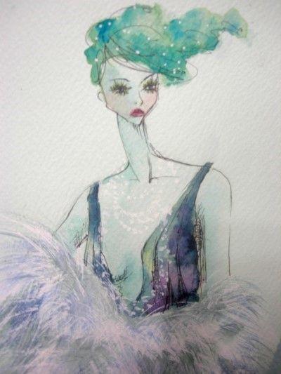 [illustration] fashion illustration, water colour