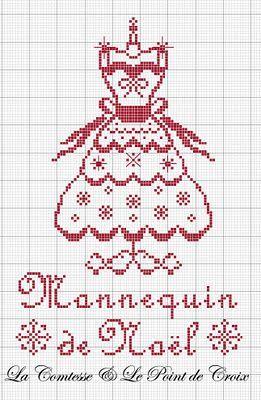 point de croix monochrome robe - cross-stitch dress