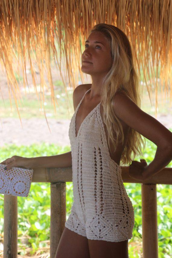 Crochet short playsuit beach crochet short suit by EllennJames