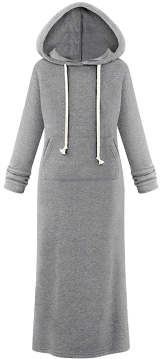 Hooded Pullover Maxi Sweatshirt Dress