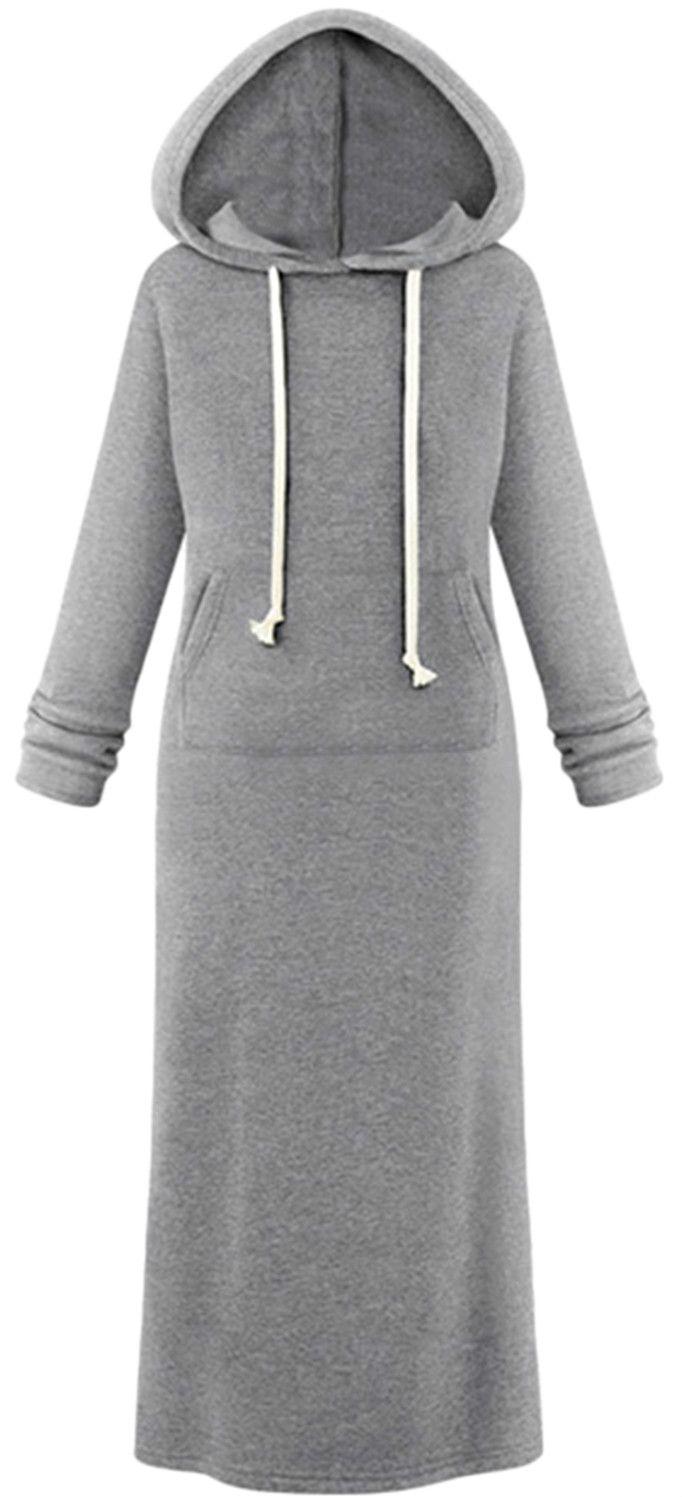 Hooded Pullover Maxi Sweatshirt Dress