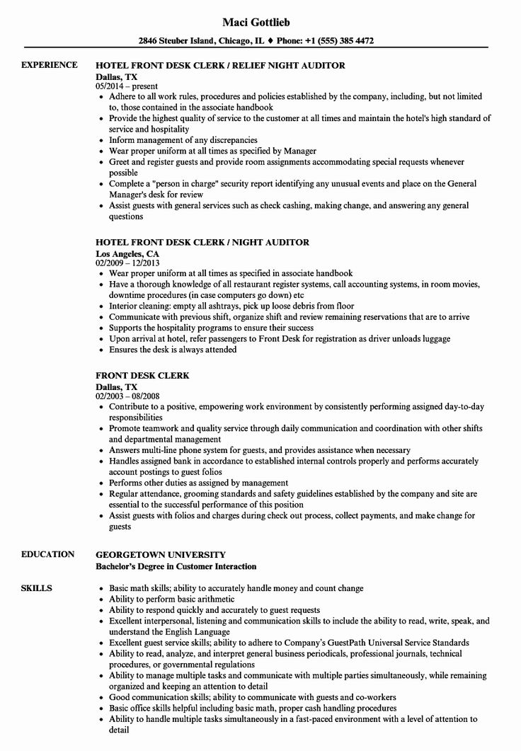 20 Front Desk Clerk Resume in 2020 Resume, Resume