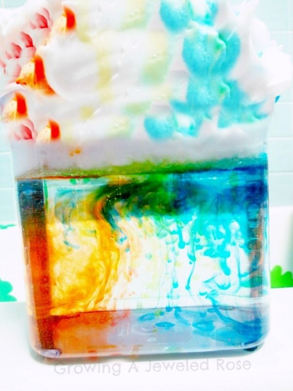 Use shaving cream, water, and food coloring to teach how rain clouds form.
