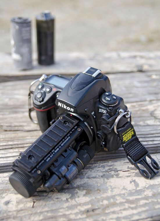 Nikon D700 with a Nightstalker II night vision system by Tactical Solutions LLC