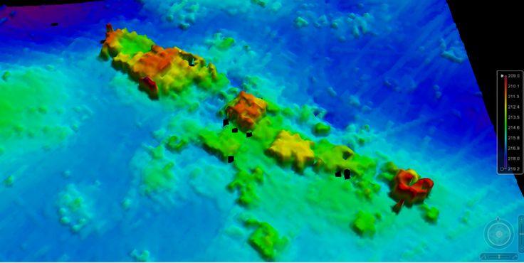 Épave 3D du Mount Pindus perçu par un sondeur multifaisceau.