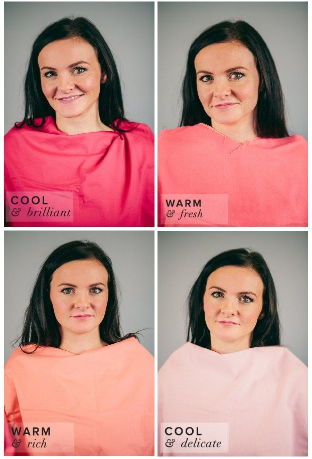 Winter Color Complexion Test.  Different Shades of Pink: Coral, Fuchsia, Salmon, Baby Pink.  Fuchsia best suits her complexion.