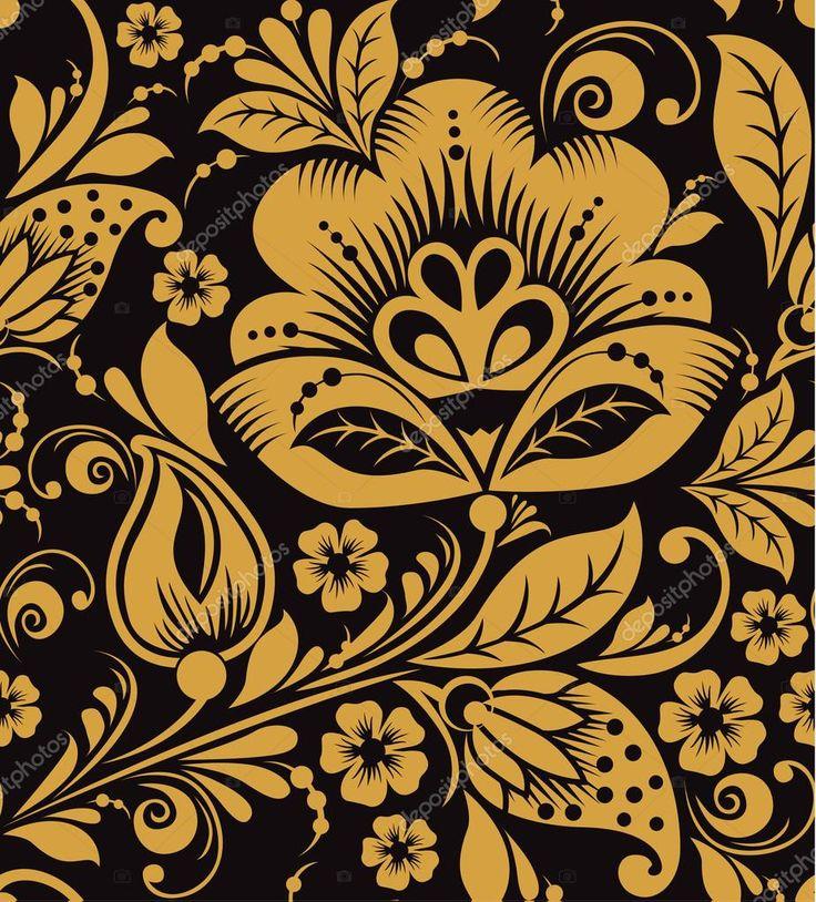 Цветочные бесшовные узор Хохлома / vector Русский орнамент