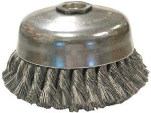 """17255 Anderson Brush Us4 .014X4""""X1-1/4"""" Cup Brush Carbon Sing by Anderson. $27.60. Single Row - High-impact action for aggressive removal of paint, rust & corrosion and deburring large surface areas.. Bristle Diam: 0.0140"""".. Speed: 9000 rpm [Max]. Wire Material: Carbon Steel. Arbor Thread - TPI or Pitch: 5/8"""" - 11.. US4 .014X4""""X1-1/4"""" CUP BRUSH CARBON SING Wire Material: Carbon SteelDia.: 4 inBristle Diam: 0.0140 inArbor Thread - TPI or Pitch: 5/8 in - 11Trim Length: 1 1/4 i..."""