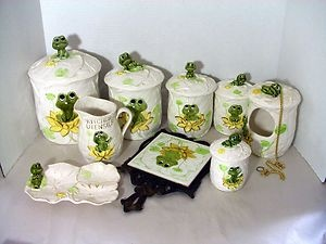 Sears Roebuck & Co. Frog Decorated 14 piece Kitchen Canister Set - 1978