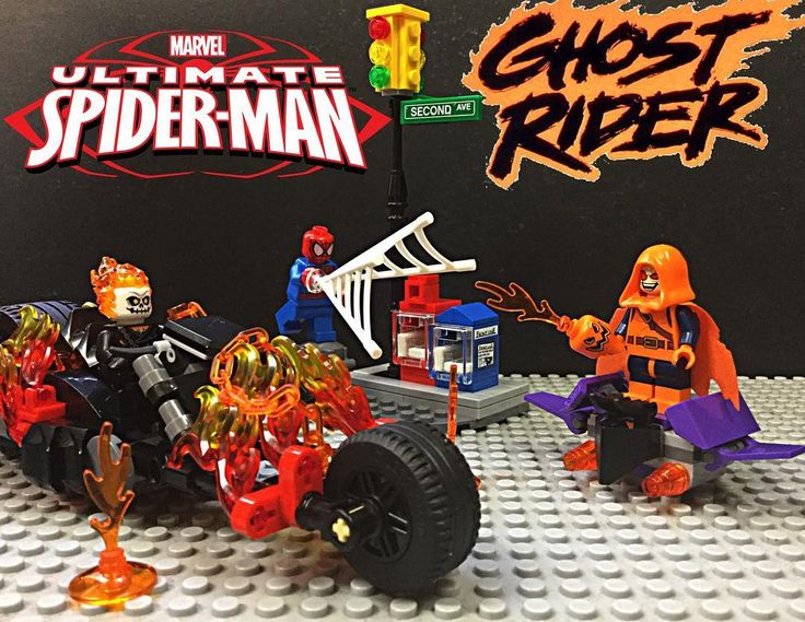 Lego Spiderman: Ghost Rider team-up #vitruvianbrix #Toyslagram #Legophotography #lego #toyslagram_lego @toyslagram_lego #sparkyslegocustoms #minfigs #legominifigs #legominfigures #legostagram #legocustoms #brick_vision #brickcentral #bricknetwork #instalego #bricksplat #legopics #marvel #spiderman #hobgoblin #ghostrider by sparkys_lego_customs