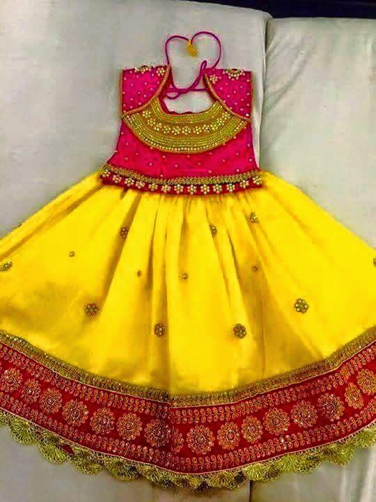Elegant Yellow Color Kids Lahengha With Designer Blouse  Buy kids clothing at online   Elegant Fashion Wear
