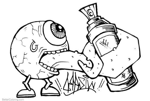 Cool Graffiti Coloring Pages Free Printable | Graffiti Coloring ...