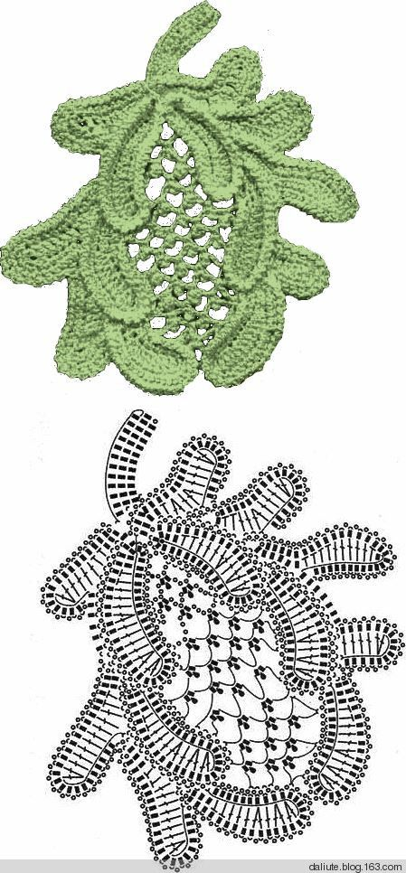.Irish crochet motif, leaves