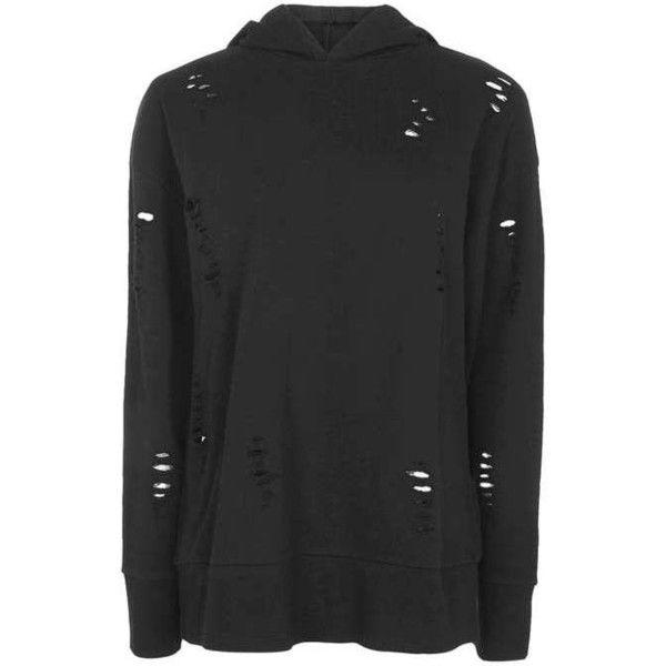 Topshop Petite Nibbled Longline Hoodie ($24) ❤ liked on Polyvore featuring tops, hoodies, cotton hoodie, cotton hoodies, topshop hoodies, petite hoodie and slouchy hoodie