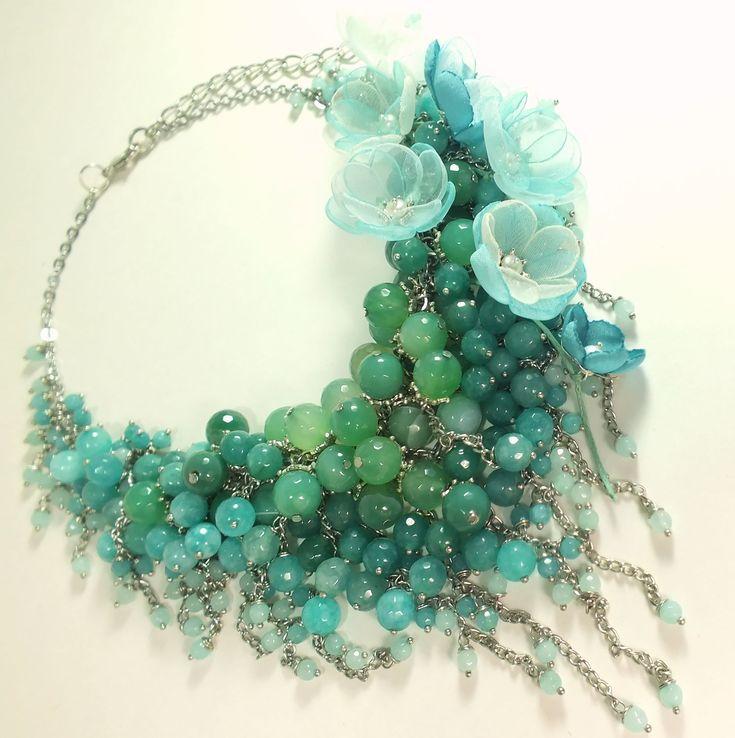 Купить Бирюзовое Парфе. Колье, съёмный цветочный декор - бирюзовый, голубой, мятный, светло-зеленый