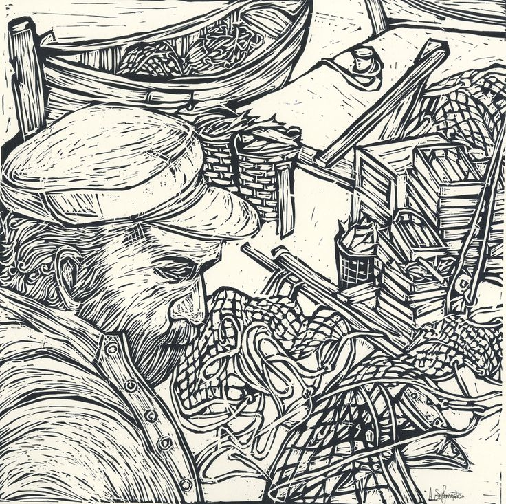 Antria Sofroniou,   Lino, linocut, summer, fish, fisherman, man, fishes, printmaking, black, white, boat, boats, Nets, sea, ocean, art, artwork, line, bold, hat, detail, description, wood, port, ports, marine, marina, boxes