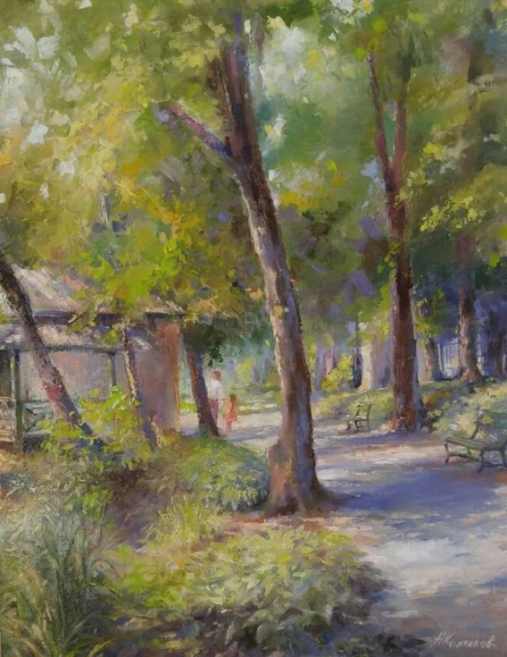 """Buy Summer shadows in the public gardens (22×28""""), Oil painting by Alexander Koltakov on Artfinder. Discover thousands of other original paintings, prints, sculptures and photography from independent artists."""