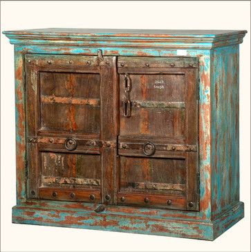 Blue & Brown Victorian Reclaimed Wood Credenza Buffet Cabinet rustic-buffets-and-sideboards