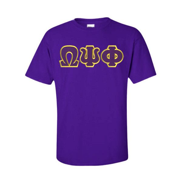 $15 Omega Psi Phi Lettered T-shirt ($15) ❤ liked on Polyvore featuring tops, t-shirts, purple top, letter t shirts, purple tee, purple t shirt and checkered top