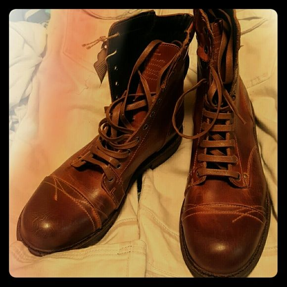 Diesel Men's Boots Brand new (without box) Diesel Men's chestnut brown leather boots. Never worn; original retail of $600. Willing to go down on price. Make me an offer! Diesel Shoes Lace Up Boots