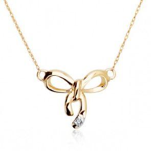 Złoty naszyjnik z diamentem - kokardka - Biżuteria srebrna dla każdego tania w sklepie internetowym Silvea
