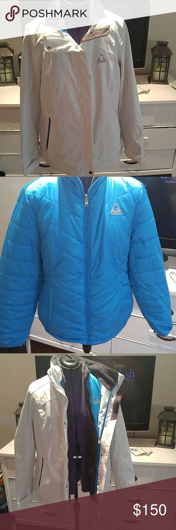 Gerry Ski jacket 2 in 1 ski jacket.  1 jacket is white and the other is teal. The white jacket will need to be dry cleaned as I did wear one time tubing.  The jackets are very warm and I did wear the teal jacket a couple of time by itself.  Very comfortable.  Bought from Macy's online.  Can also be used as an everyday jacket Gerry Weber Jackets & Coats Puffers
