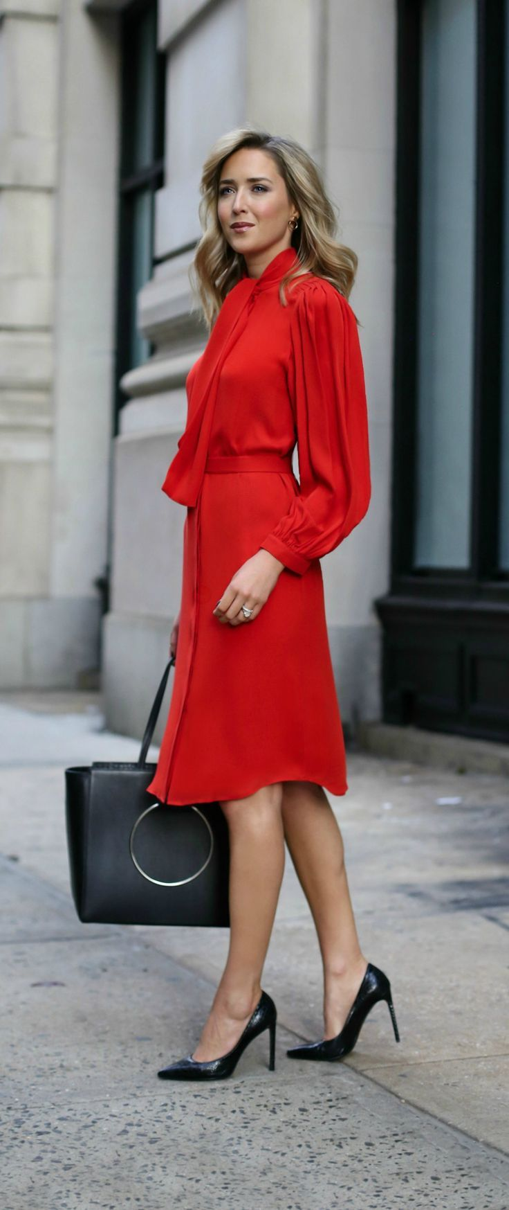 business formal classic bright red tie neck silk tie waist midi dress with pleated blouson sleeves perfect for holiday parties or christmas