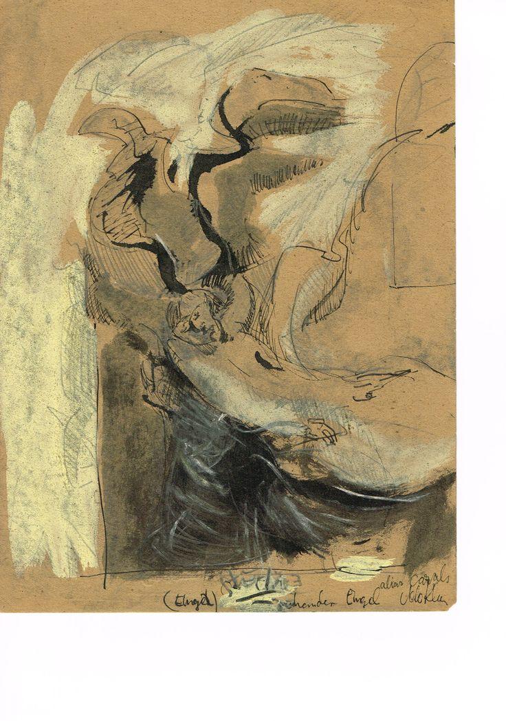 Sinkender Engel, Zeichnung, Mischtechnik auf braunem Papier, 22,8 x 30,5, 650 EURO, Anfragen an Britta Kremke, management@carlocazals.com