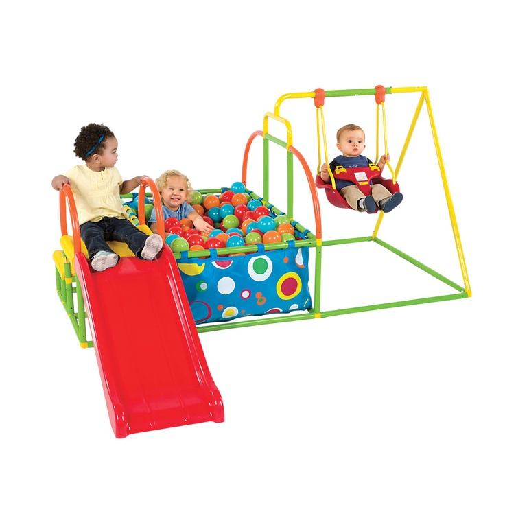 Toddler Swing Set, Slide and Ball Pit Activity Gym from One Step Ahead! $189.95!