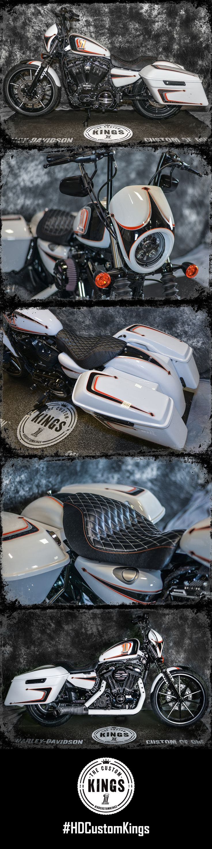 "Runner-up Four Rivers Harley-Davidson took a stock 2016 #Iron883 and turned it into ""Go-Damnit"" - a Sportster bagger ready to break necks. 