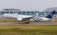 Saudi Arabian Airlines (Saudia) (SA) Boeing 777-268(ER) HZ-AKA aircraft, painted in ''SkyTeam'' special colours, landing at China Guangzhou-Baiyun International Airport. 30/12/2012.
