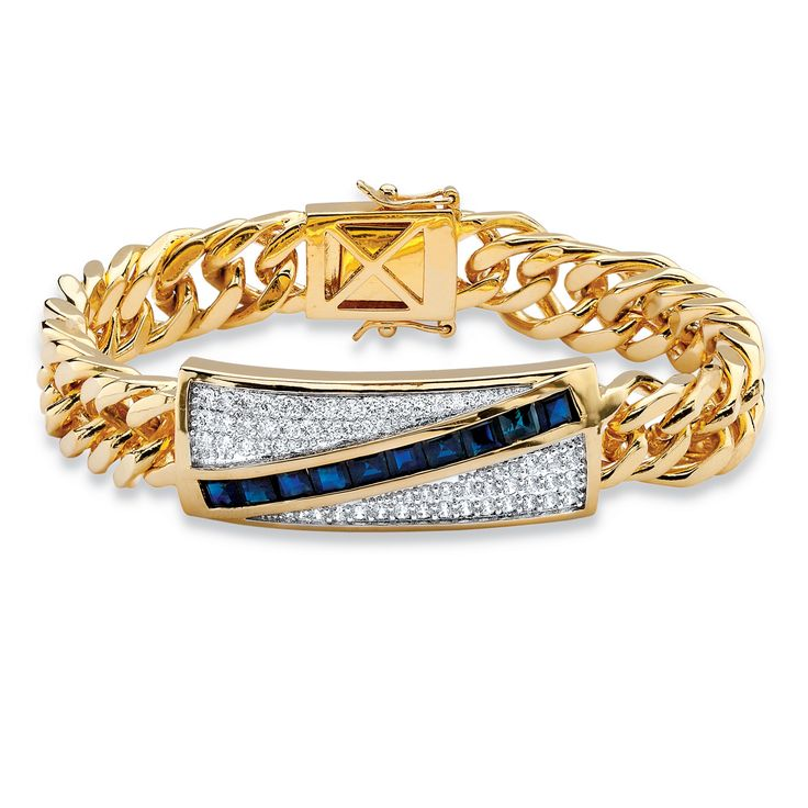 Exuding modern cool and sophistication, this men's sapphire bracelet features 4…