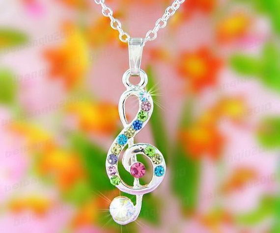 So cute ♡ at https://www.etsy.com/listing/176654970/colorful-crystal-music-note-necklace