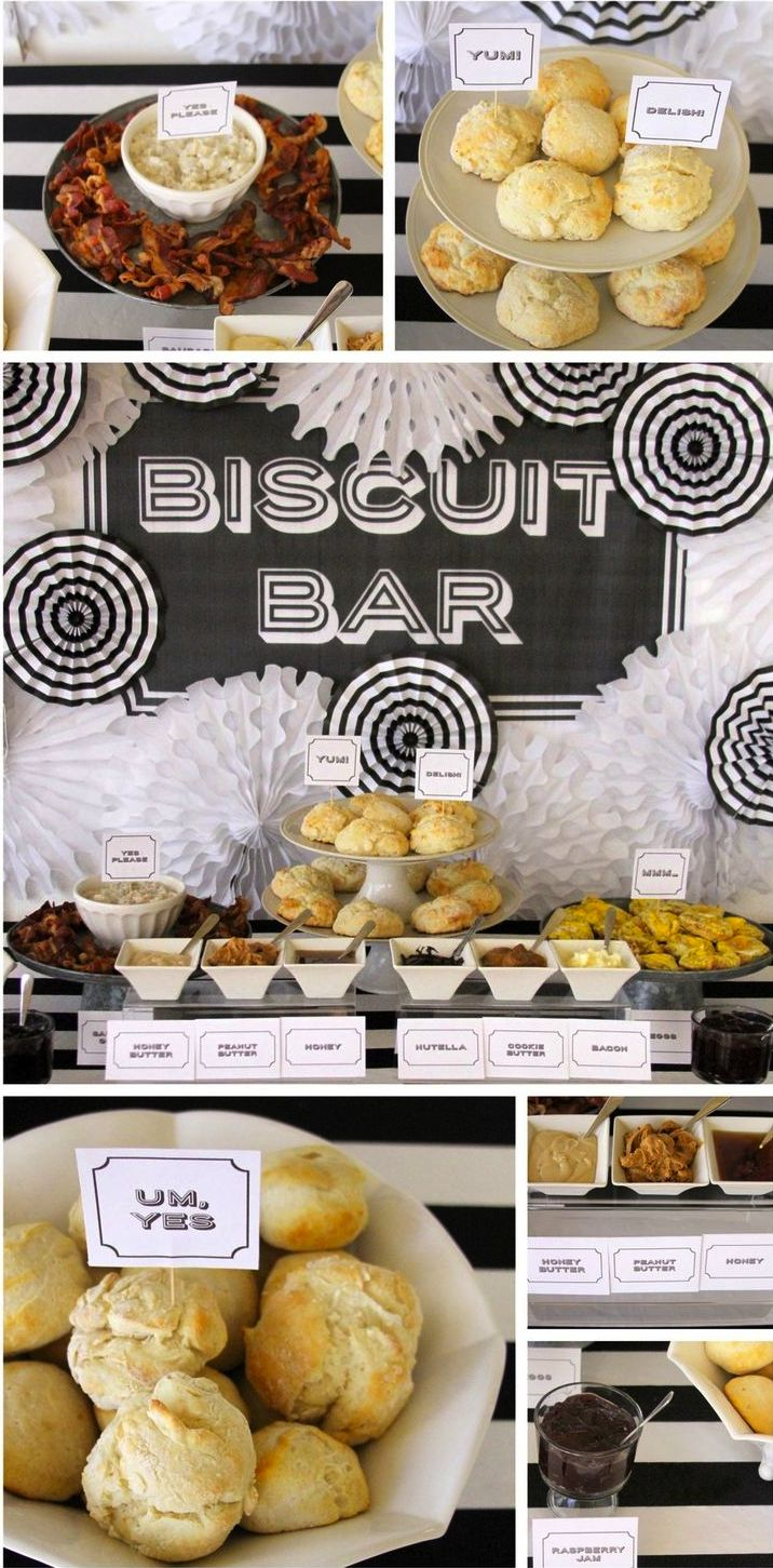 A biscuit bar is perfect for a farewell brunch. Guests can come and go as they please and it is a quick and fun idea that will be a great way to end your wedding weekend.